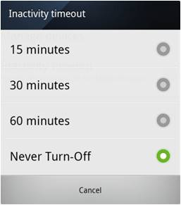 Inactivity timeout