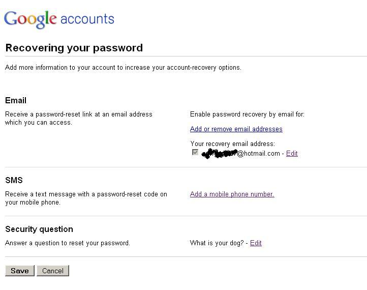 reset gmail password by security question